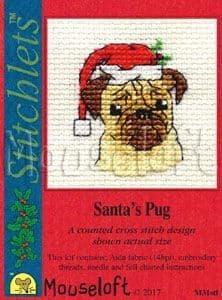 Mouseloft Santa's Pug Card Christmas Stitchlets cross stitch kit